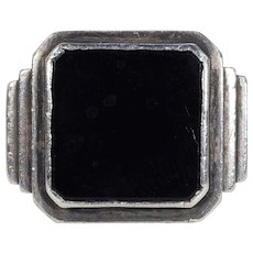 Vintage Art Deco Onyx Silver Ring Gentleman's Ring
