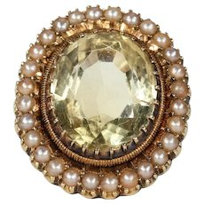 Antique Victorian Citrine Pearl Cluster Ring