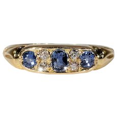 Sparkling Antique Victorian Diamond Sapphire Ring