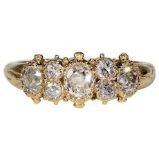 Exquisite Antique Victorian 7 Diamond Ring in 18k Gold