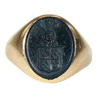 Antique Bloodstone Intaglio Ring 18k Gold