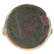 Ancient Roman Coin Austro-Hungarian Ring 14k Gold