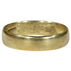 Antique Edwardian Plain 18k Gold Wedding Band