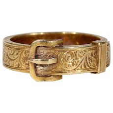 Gold Victorian Opening Buckle Ring Hair Memorial