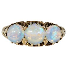 Super Lively Antique Opal Ring 3-Stone Hallmarked 1900