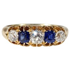 Antique Victorian Sapphire and Diamond Ring 5 Stone Hallmarked 1884