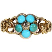Victorian Turquoise Diamond Forget-Me-Not Ring Gold