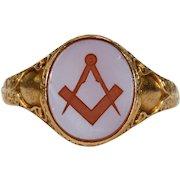 Victorian Intaglio Seal Ring Masonic Hallmarked 1866