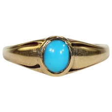 Victorian Turquoise 18k Gold Ring Solitaire