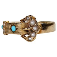 Vintage English Gold Turquoise Pearl Buckle Ring