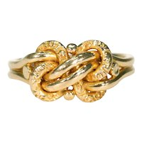 Antique Victorian Love Knot Ring 18k Gold Wedding Ring