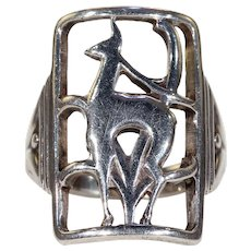 Vintage Danish Eiler and Marloe Deer Ring Silver