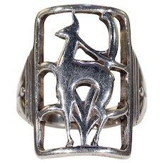 Vintage Danish Eiler and Marloe Deer Ring Silver