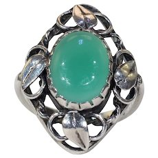 Vintage Mid-Century Chalcedony Silver Ring