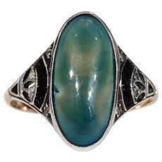 Vintage Art Deco Chalcedony Ring Onyx Paste