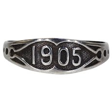 Antique Silver Edwardian Date Ring '1905'