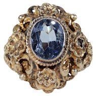 Antique Austro-Hungarian Paste Ring Silver Gilt