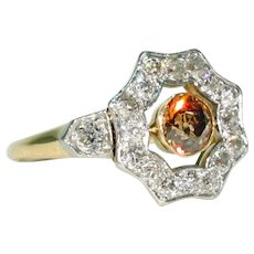 Edwardian Natural Fancy Diamond Cluster Ring Dark Orange Brown Colored