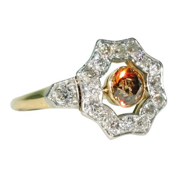 Edwardian Natural Fancy Diamond Cluster Ring Dark Orange Brown Colored