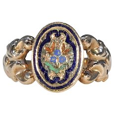 Victorian Swiss Enamel Gold Ring Forget-me-not Flower