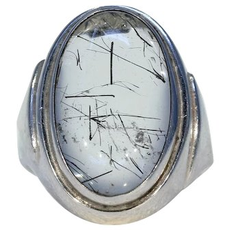 Vintage Dutch Rutilated Quartz Crystal Ring Silver