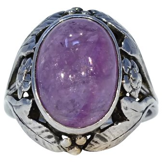 Silver Arts & Crafts Bernard Instone Amethyst Ring