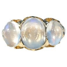 Victorian 3 Moonstone Gold Ring 3.3cttw