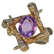 Vintage Funky Amethyst Love Knot Ring