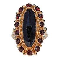 Vintage Dutch Rose Gold Garnet Cluster Ring
