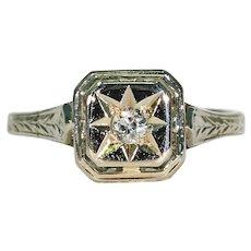 Art Deco White Gold Diamond Solitaire Ring