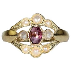 Adorable French Amethyst Rose Cut Diamond and Pearl Ring 18k Gold