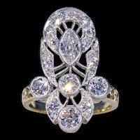 Art Deco Diamond Ring 18k Gold and Platinum