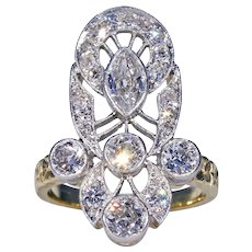 Art Deco Diamond Ring 18k Gold and Platinum