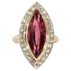 Edwardian Navette Pink Tourmaline Diamond Gold Ring