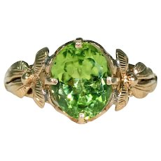 Antique Peridot Solitaire Ring in 18k Gold