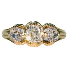 Victorian Cushion Cut Diamond 3 Stone Engagement Ring 18k Gold with Band