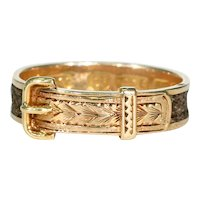 Victorian Memorial Hair Buckle Ring 15k Gold