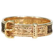 Victorian Memorial Hair Buckle Ring 15k Gold