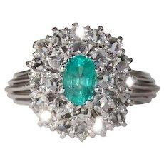 1950s Platinum Diamond Emerald Cocktail Ring