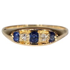 Antique Edwardian Sapphire Diamond Ring in 18k Gold Hallmarked 1912