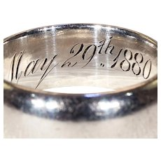 Victorian Sterling Silver Wedding Band Inscribed 1880