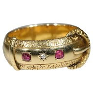Antique 18k Victorian Ruby and Diamond Buckle Ring Hallmarked Birmingham, 1899