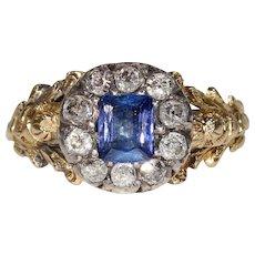 Georgian Sapphire Diamond Cluster Ring 18k Gold
