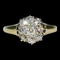 Antique Victorian Diamond Cluster Ring 18k Gold