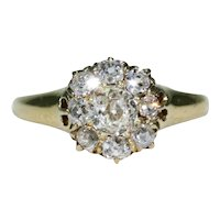 Antique Victorian Diamond Cluster Ring 18k Gold