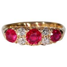 Art Deco Ruby Diamond Ring 18k Gold