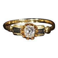Antique French Gold Diamond Black Enamel Ring