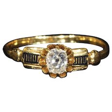 Antique French Diamond Ring with Black Enamel Accents, 18k Gold