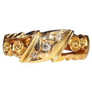Antique Diamond Ring in 18k Gold, Hallmarked 1908