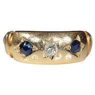 Antique 18k Victorian Sapphire and Diamond Ring Hallmarked Birmingham 1885